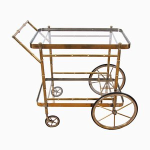 Chariot de Bar en Faux Bambou et Laiton, 1950s