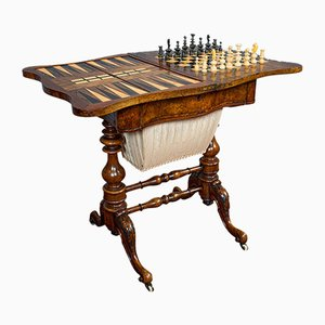 Antique English Victorian Burr Walnut Chess Game Table, 1860s, Set of 2