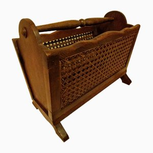 Antique Wood and Wicker Magazine Rack
