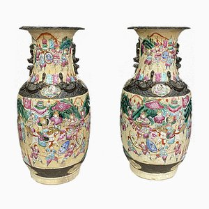 Large Chinese Porcelain Vases with Polychrome Enamel Decoration, 1860s, Set of 2