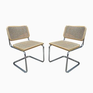 Vintage Caned Chairs with Structure in Chromed Metal & Beech, 1970s, Set of 2