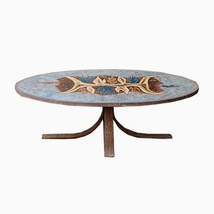 Enamelled Lava Stone Coffee Table from Jean Jaffeux, 1960s