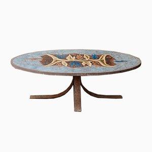 Tavolino da caffè in pietra lavica smaltata di Jean Jaffeux, anni '60