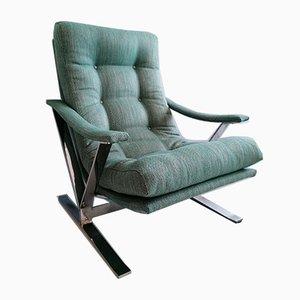 Large American Chrome High Back Armchair, 1970s