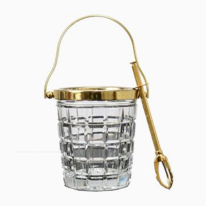 Mid-Century Crystal Glass and Gold-Plated Ice Bucket & Tong from Val Saint Lambert