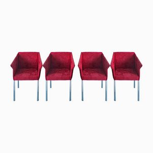 Italian Cherry Red Faux Suede & Chrome Dining or Side Chairs, 1980s, Set of 4