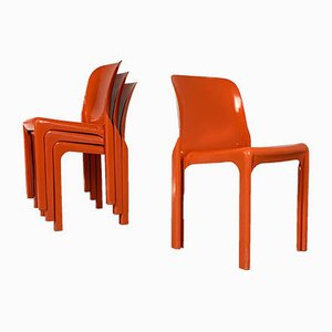 Flash Orange Selene Chair by Vico Magistretti for Artemide, 1970s