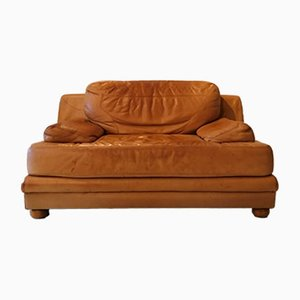 Vintage Tan Leather Loveseat, Large Chair or Small Sofa, USA, 1980s