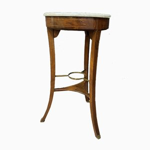 Athenian Directoire Period Mahogany & White Carrara Marble Side Table