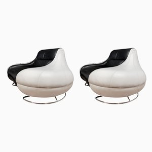 Black and White Leather Lounge Chairs, 1980s, Set of 2