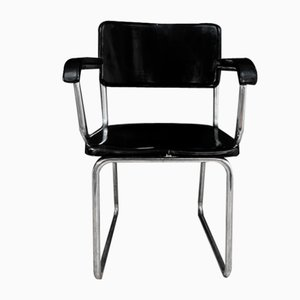 Wooden Armchair with Seat & Backrest in Lacquered Wood in the Style of René Herbst, 1950s