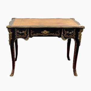 Louis XV Style Black Lacquer and Gilded Bronze Flat Desk, 1930s