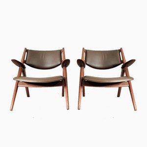 Mid-Century Modell 28 Sawbuck Armlehnstühle von Hans J. Wegner für Carl Hansen & Søn, 2er Set