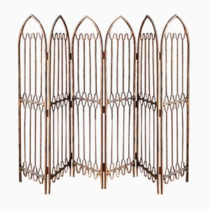 American Hollywood Regency Gold Rattan Folding Screen or Room Divider, 1960s