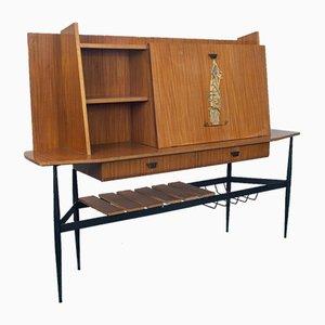 Credenza alta vintage in metallo e legno, anni '50