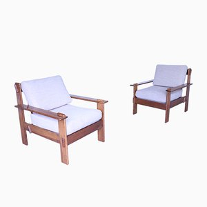 Mid-Century Chestnut & Fabric Lounge Chairs, Set of 2