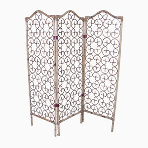 Mid-Century Bamboo Screen with Leather Hinges