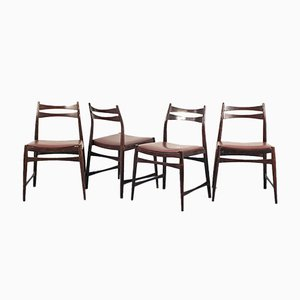 Vintage Swedish Bordeaux Skai & Wood Dining Chairs, 1960s, Set of 4