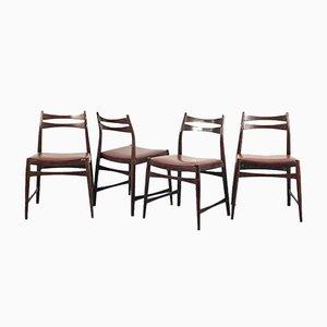 Vintage Swedish Bordeaux Skai & Wood Dining Chairs, 1960s, Set of 4