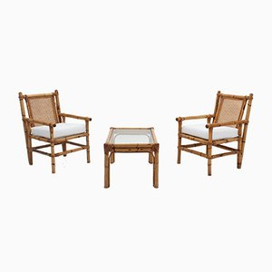 Vintage Bamboo Living Room Set, 1950s, Set of 3