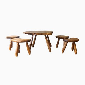 Tables & Stools in the Style of Alexandre Noll, 1950s, Set of 5