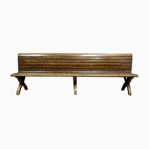 Large Napoleon III Park Bench with Natural Wood Backrest