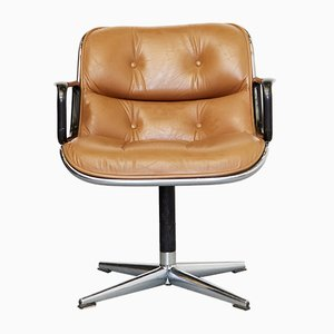 Vintage Leather Executive Swivel Chair by Charles Pollock for Knoll Inc. / Knoll International, 1970s