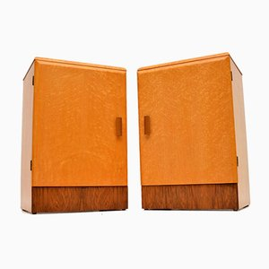 Art Deco Maple & Walnut Bedside Cabinets, 1930s, Set of 2