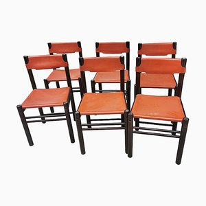 Italian Leather Dining Chairs from Ibisco, 1980s, Set of 6