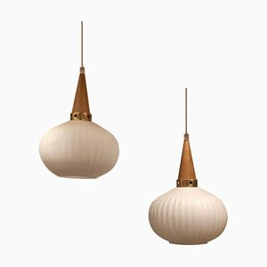 Danish Frosted Glass Pendant Lamps, 1960s, Set of 2