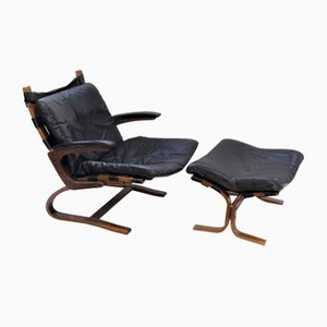 Black Lounge Chair & Ottoman by Elsa & Nordahl Solheim for Rybo Rykken & Co, 1960s, Set of 2