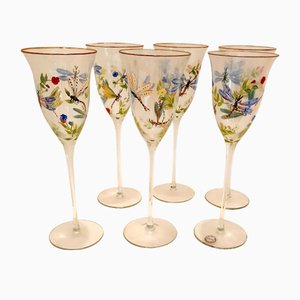 Vintage Hand-Painted Glassware Set, 1990s, Set of 6
