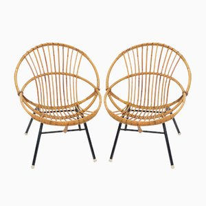 Rattan and Metal Lounge Chairs, 1960s, Set of 2