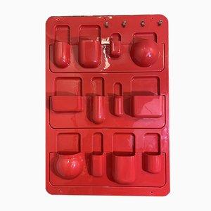 Mensola vintage in plastica rossa, Italia, anni '70