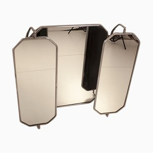 Large Triptych Mirror in Bakelite and Chrome, Spain, 1940s