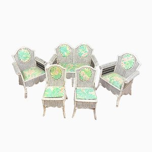 Antique Lacquered Rattan Garden Chairs in the Style of Perret-Vibert, Set of 5