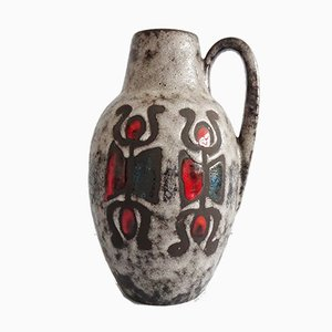 Große Vintage Fat Lava Glasur & Figuren Dekor Vase mit Griff