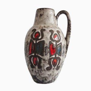 Large Vintage Fat Lava Glaze & Figures Decor Vase with Handle