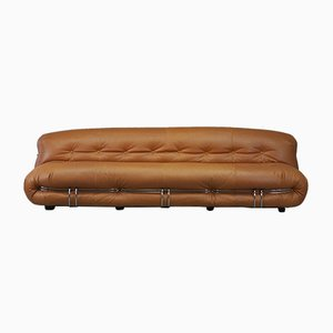 Cognac Leather Soriana Sofa by Tobia & Afra Scarpa for Cassina, Italy, 1970s