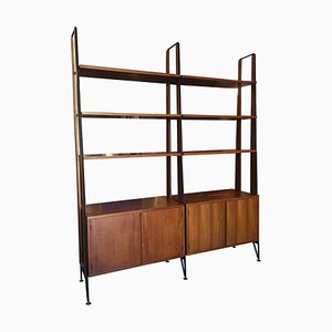 Black Iron Rod Uprights & Rosewood Bookcase with Brass Feet, 1950s