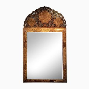 Antique Walnut and Floral Marquetry Mirror in the Style of Gerrit Jensen from William & Mary