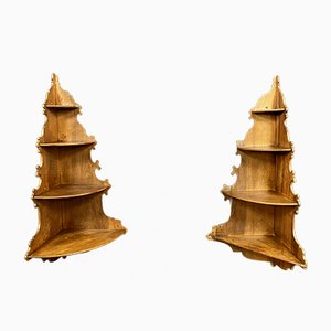 Napoleon III Walnut Corner Shelves, Set of 2