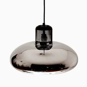 Mid-Century Italian Chrome Quarter Bell Ceiling Lamp from Stilnovo, 1960s
