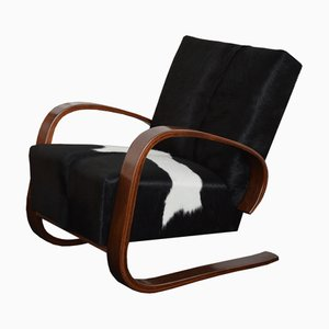 Cowhide Cantilever Lounge Chair by Miroslav Navrátil for Spojene UP Zavody, 1950s, 1950s