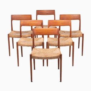Mid-Century Model 77 Teak and Sisal Dining Chairs by Niels Otto Møller for J.L. Møllers, 1950s, Set of 6