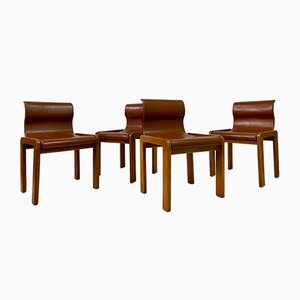 Italian Leather Dining Chairs Attributed to Tobia & Afra Scarpa, 1970s, Set of 4