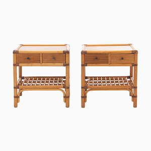 VIntage Bamboo Nightstands, 1960s, Set of 2