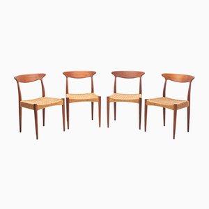 Mid-Century Teak Dining Chairs by Arne Hovmand-Olsen for Mogens Kold, 1950s, Set of 4
