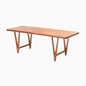 Danish Teak Coffee Table with V-Shaped Legs by E. W. Bach, 1960s
