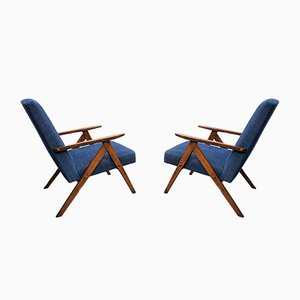 Mid-Century Model B 310 Easy Chairs in Navy Blue, 1960s, Set of 2
